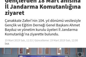 İL JANDARMA KOMUTANLIĞINA ZİYARET